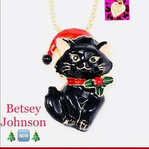 Betsey Johnson Blk Cat Necklace 🎄🆕🎄